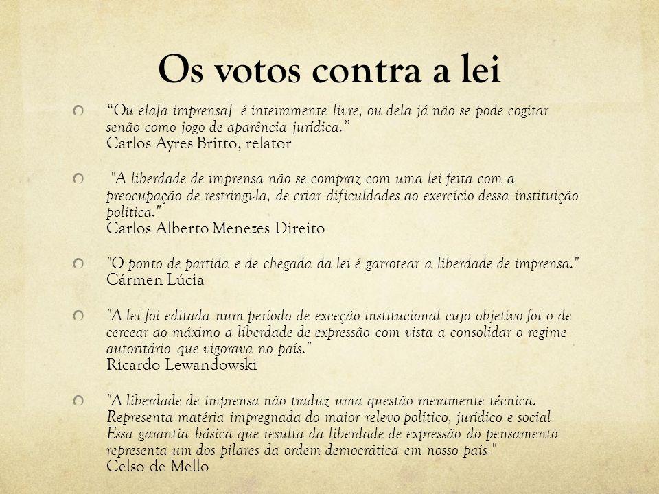 Os votos contra a lei