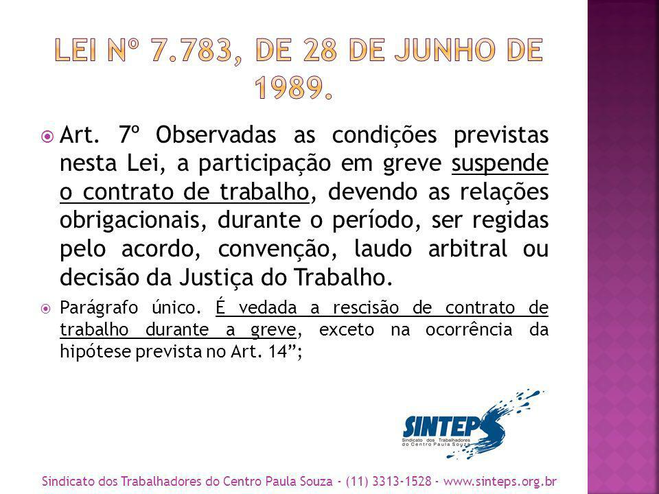 LEI Nº 7.783, DE 28 DE JUNHO DE 1989.