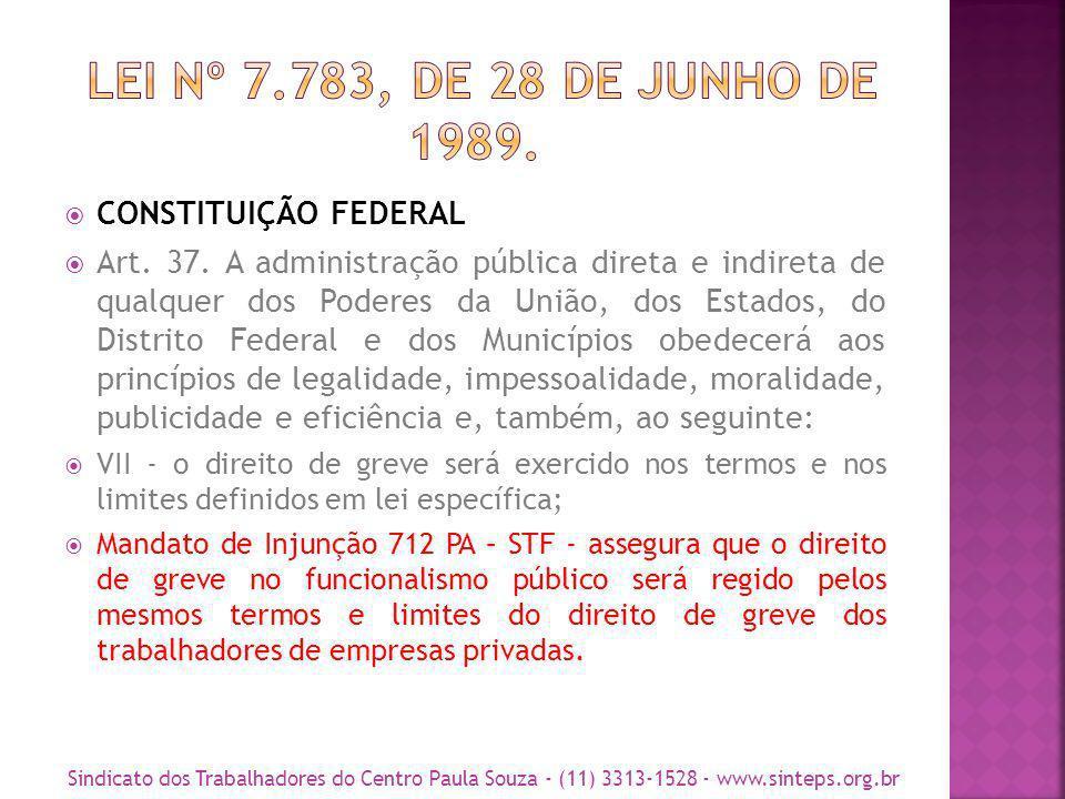 LEI Nº 7.783, DE 28 DE JUNHO DE 1989. CONSTITUIÇÃO FEDERAL