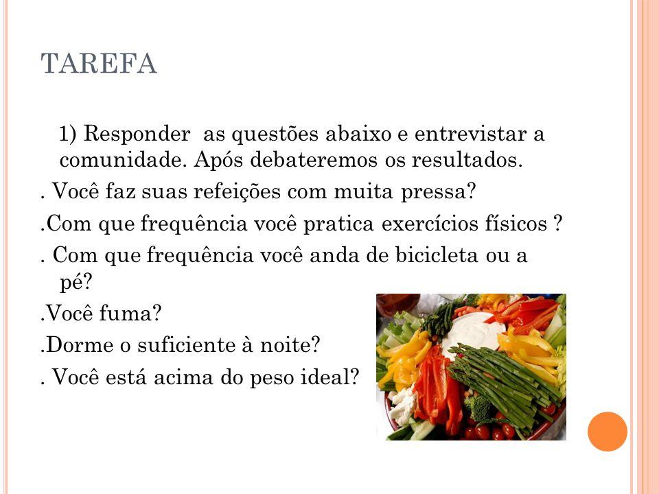 TAREFA 1) Responder as questões abaixo e entrevistar a comunidade. Após debateremos os resultados.
