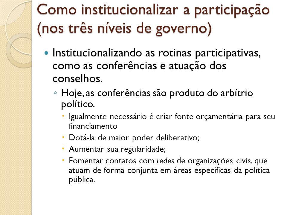 Como institucionalizar a participação (nos três níveis de governo)