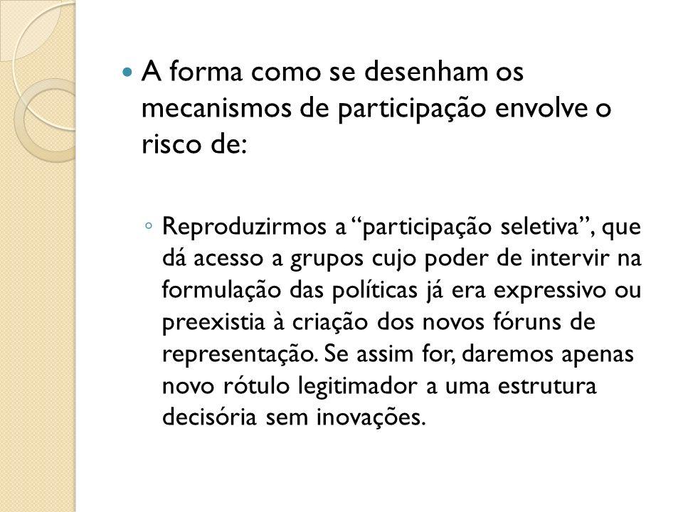 A forma como se desenham os mecanismos de participação envolve o risco de: