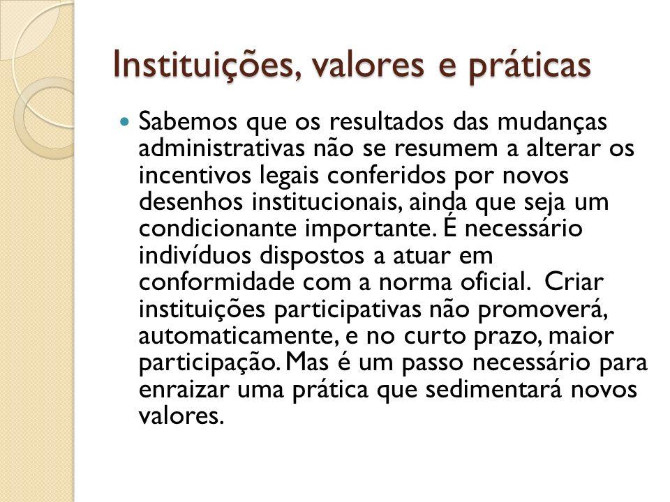 Instituições, valores e práticas