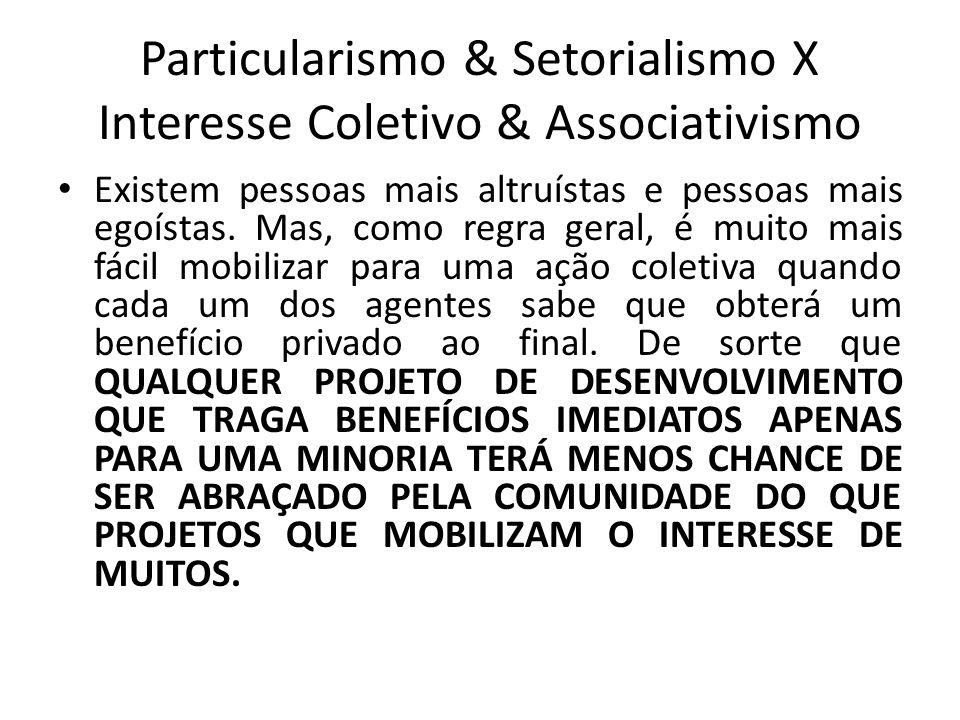 Particularismo & Setorialismo X Interesse Coletivo & Associativismo