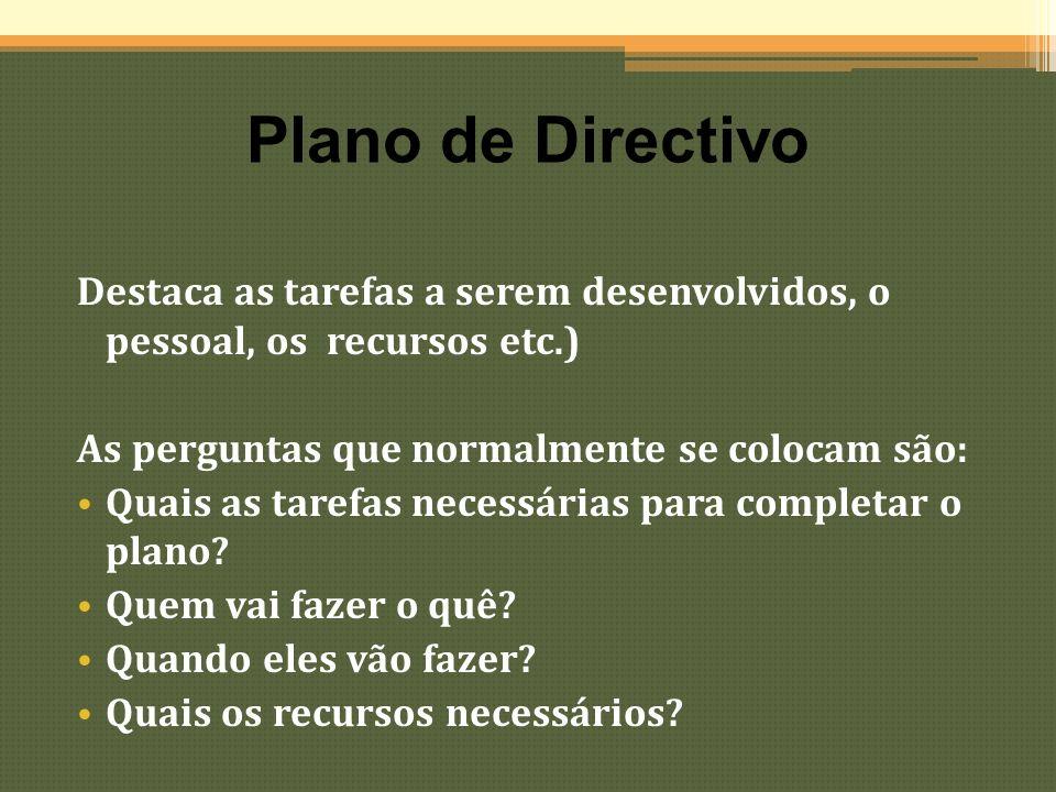 Plano de Directivo Destaca as tarefas a serem desenvolvidos, o pessoal, os recursos etc.) As perguntas que normalmente se colocam são: