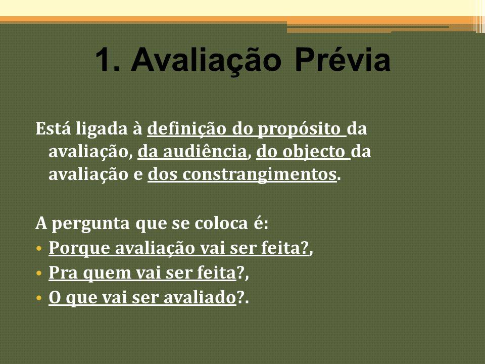 1. Avaliação Prévia Está ligada à definição do propósito da avaliação, da audiência, do objecto da avaliação e dos constrangimentos.
