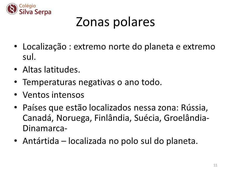 Zonas polares Localização : extremo norte do planeta e extremo sul.