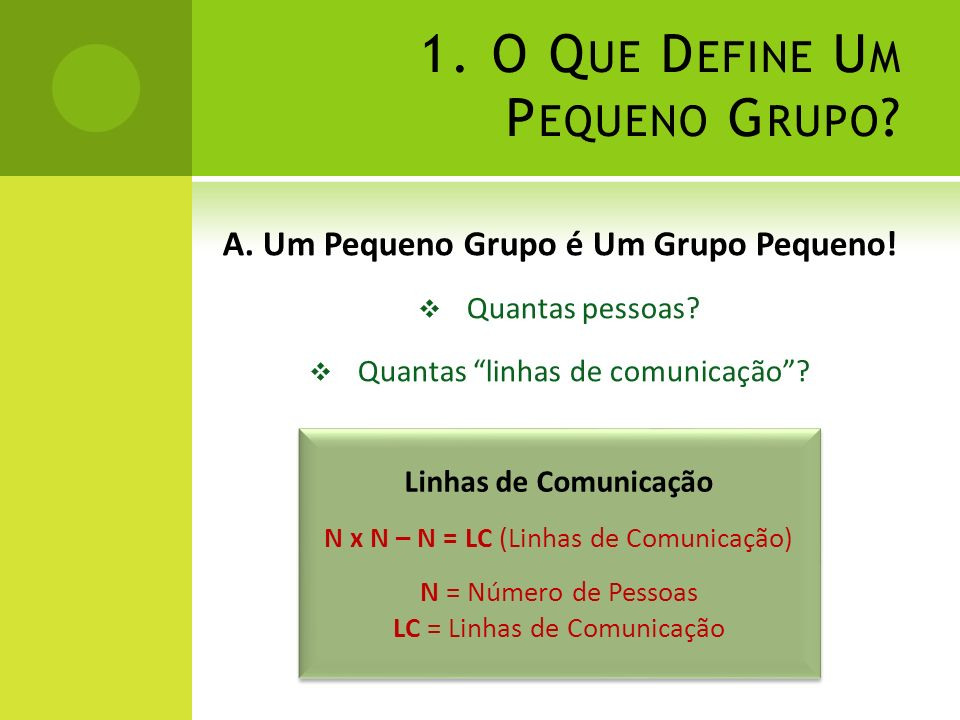 1. O Que Define Um Pequeno Grupo