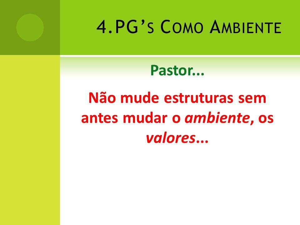 4.PG's Como Ambiente Pastor... Não mude estruturas sem antes mudar o ambiente, os valores...