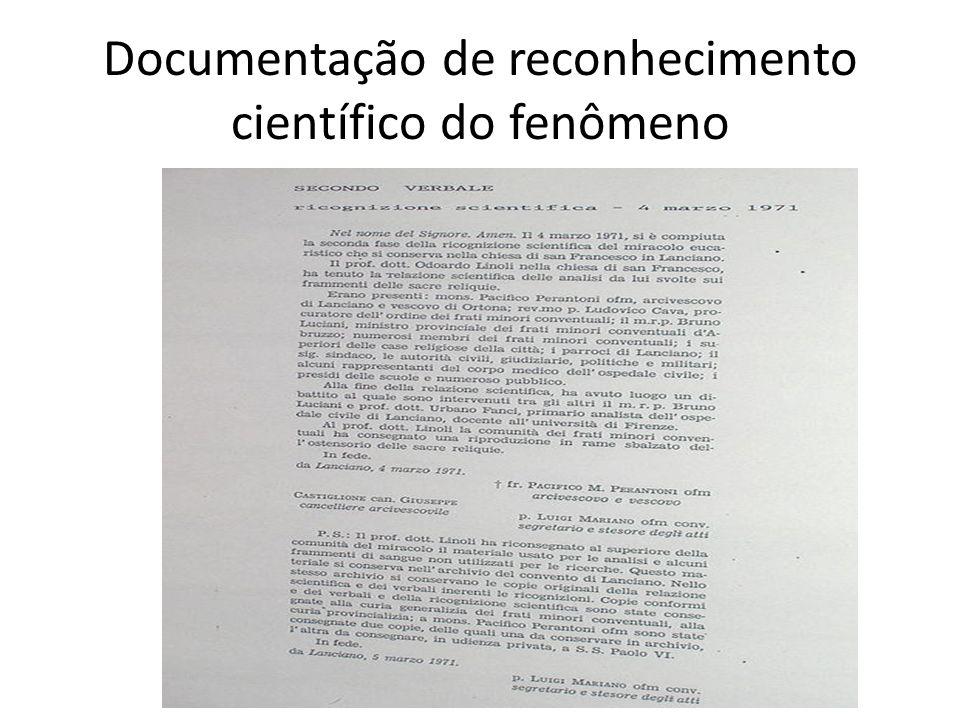 Documentação de reconhecimento científico do fenômeno