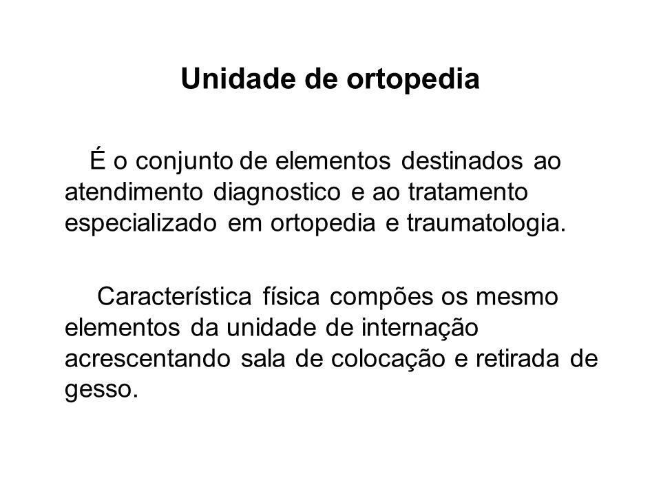 Unidade de ortopedia É o conjunto de elementos destinados ao atendimento diagnostico e ao tratamento especializado em ortopedia e traumatologia.