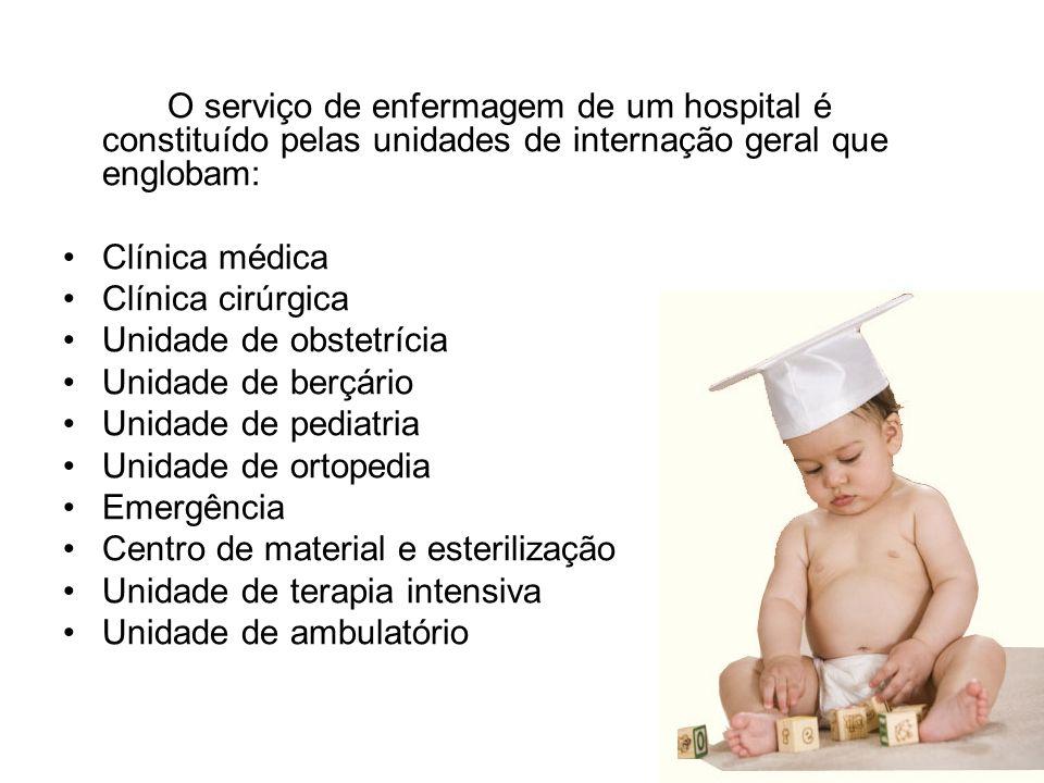 O serviço de enfermagem de um hospital é constituído pelas unidades de internação geral que englobam: