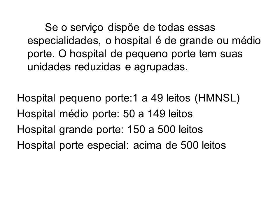 Se o serviço dispõe de todas essas especialidades, o hospital é de grande ou médio porte. O hospital de pequeno porte tem suas unidades reduzidas e agrupadas.