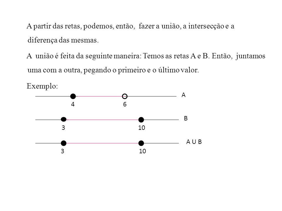 A partir das retas, podemos, então, fazer a união, a intersecção e a diferença das mesmas. A união é feita da seguinte maneira: Temos as retas A e B. Então, juntamos uma com a outra, pegando o primeiro e o último valor. Exemplo: