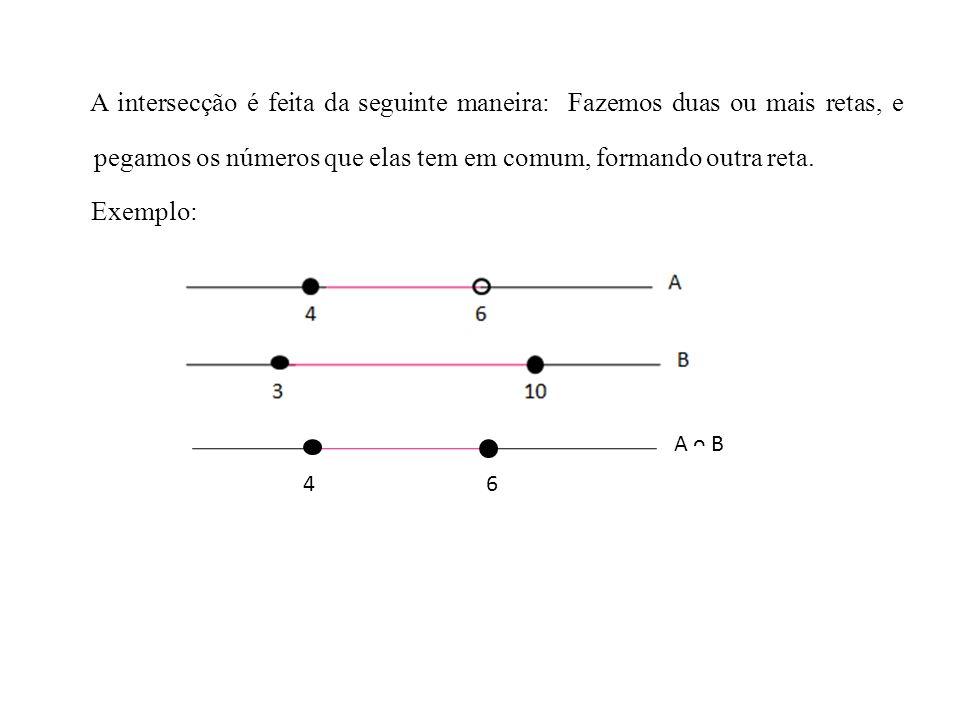 A intersecção é feita da seguinte maneira: Fazemos duas ou mais retas, e pegamos os números que elas tem em comum, formando outra reta.