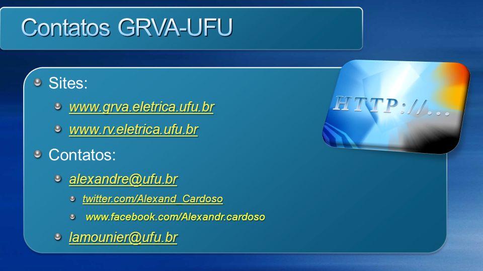 Contatos GRVA-UFU Sites: Contatos: www.grva.eletrica.ufu.br
