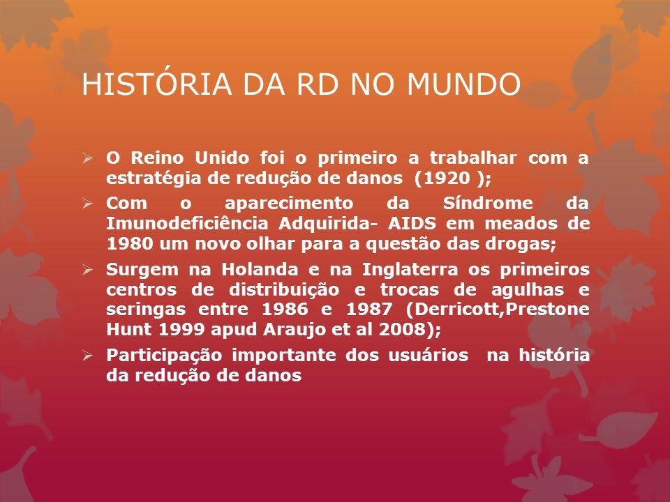 HISTÓRIA DA RD NO MUNDO O Reino Unido foi o primeiro a trabalhar com a estratégia de redução de danos (1920 );