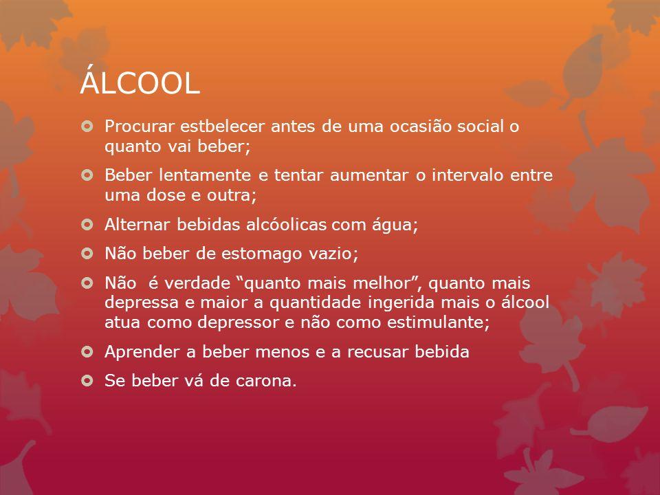 ÁLCOOL Procurar estbelecer antes de uma ocasião social o quanto vai beber; Beber lentamente e tentar aumentar o intervalo entre uma dose e outra;