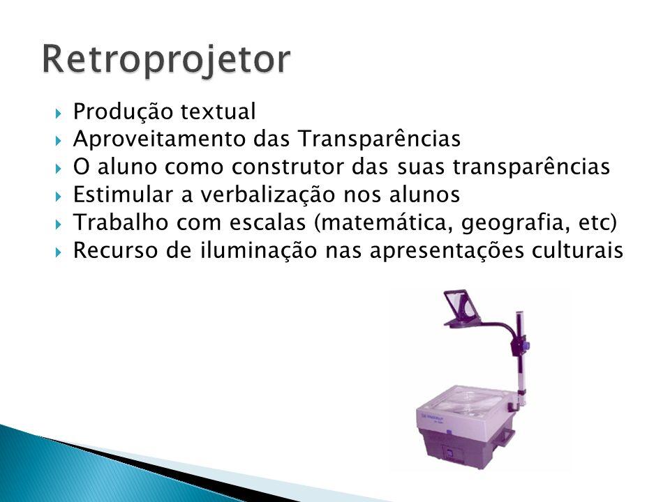 Retroprojetor Produção textual Aproveitamento das Transparências