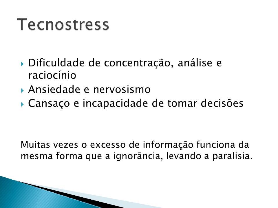 Tecnostress Dificuldade de concentração, análise e raciocínio