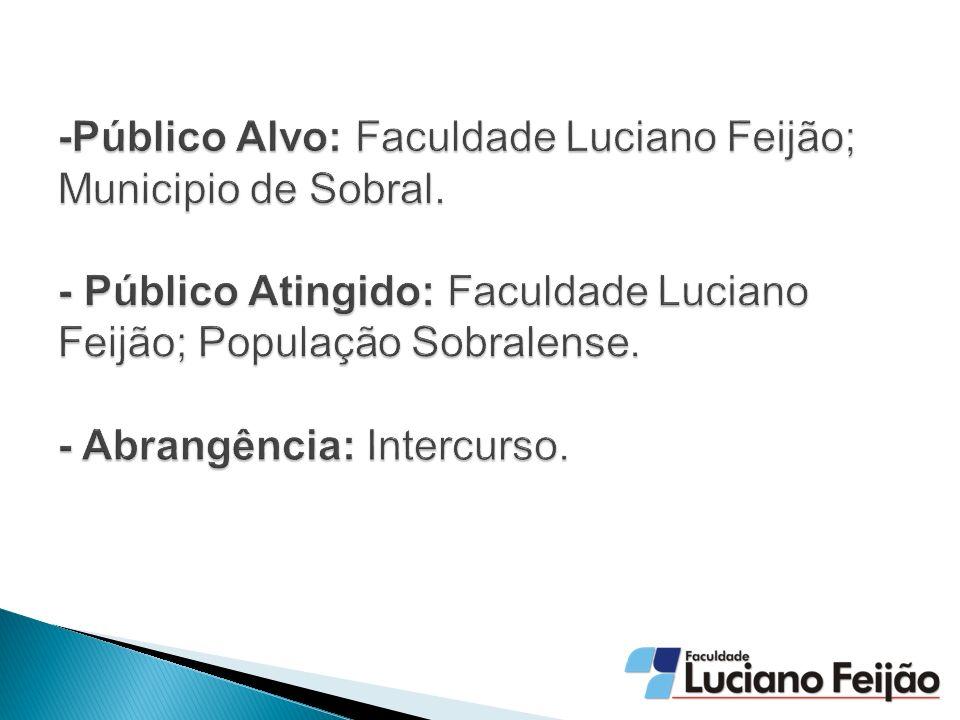 -Público Alvo: Faculdade Luciano Feijão; Municipio de Sobral