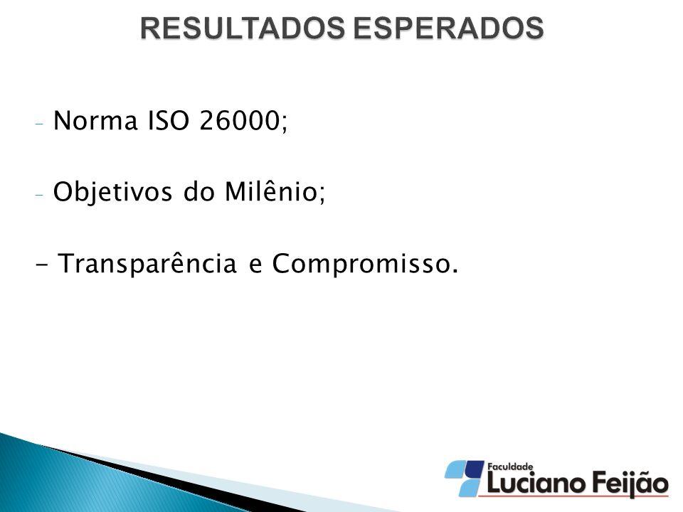 RESULTADOS ESPERADOS Norma ISO 26000; Objetivos do Milênio;