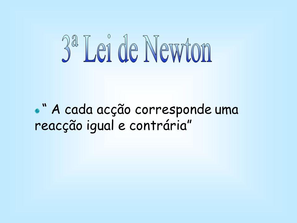 3ª Lei de Newton A cada acção corresponde uma reacção igual e contrária