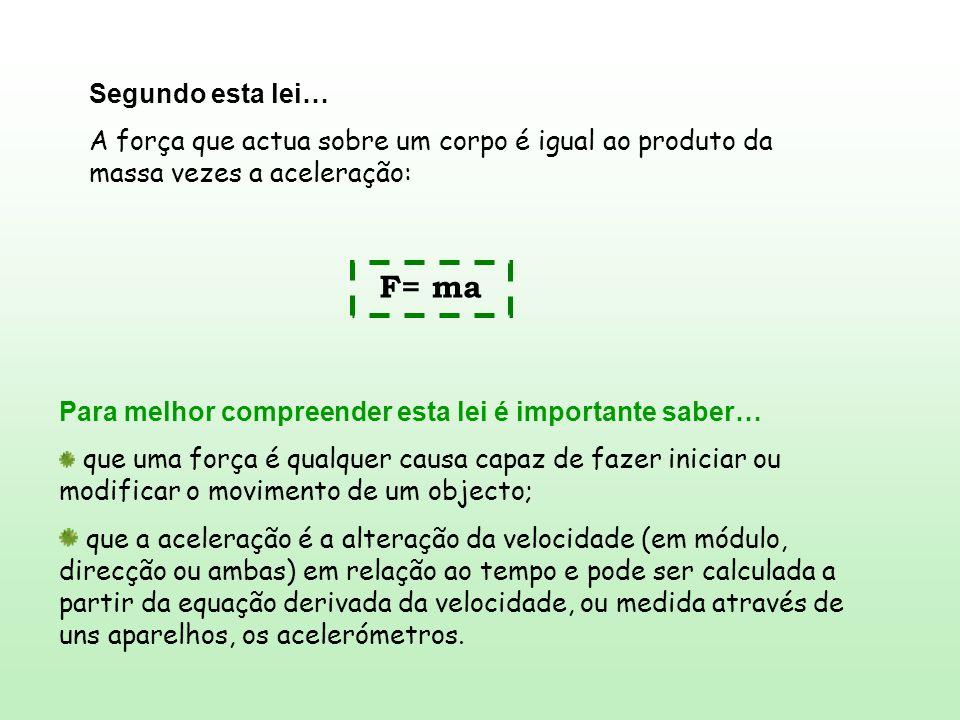 Segundo esta lei… A força que actua sobre um corpo é igual ao produto da massa vezes a aceleração: F= ma.