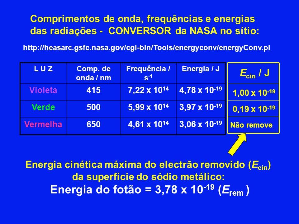 Energia do fotão = 3,78 x 10-19 (Erem )