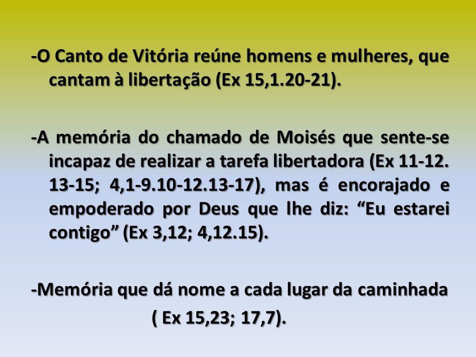 -O Canto de Vitória reúne homens e mulheres, que cantam à libertação (Ex 15,1.20-21).