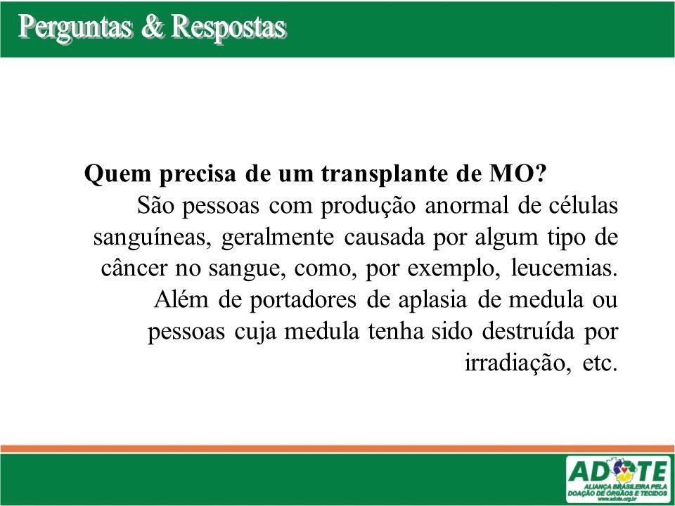 Perguntas & Respostas Quem precisa de um transplante de MO