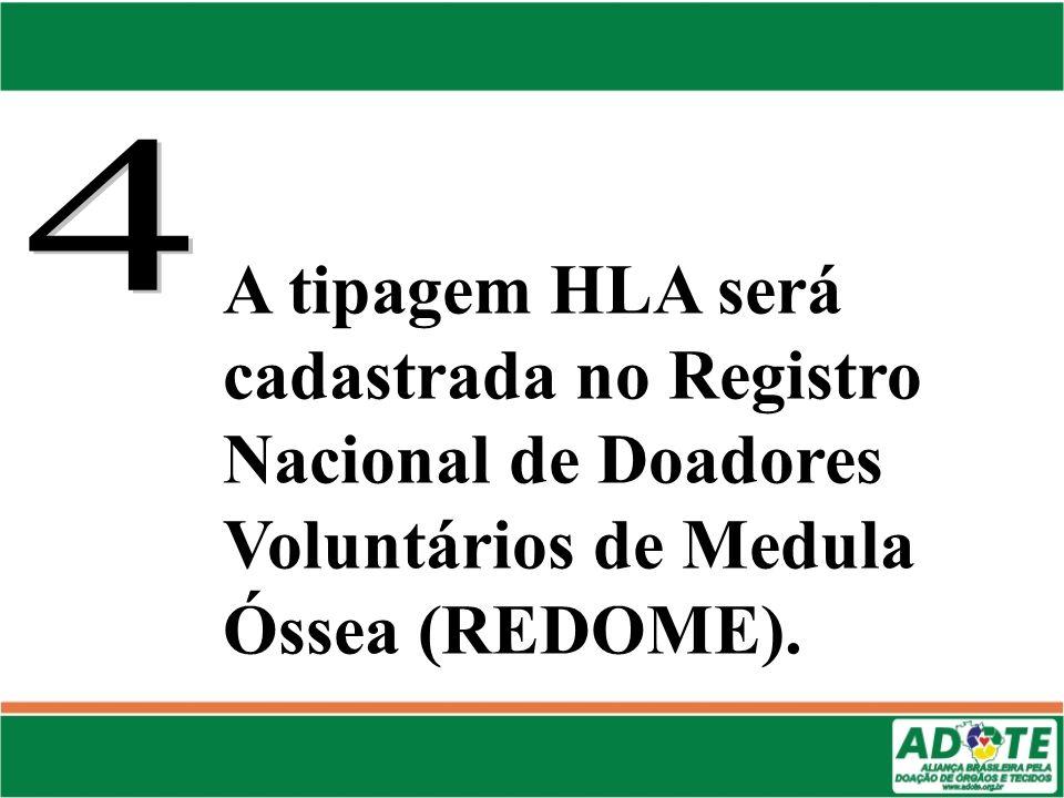 4 A tipagem HLA será cadastrada no Registro Nacional de Doadores Voluntários de Medula Óssea (REDOME).