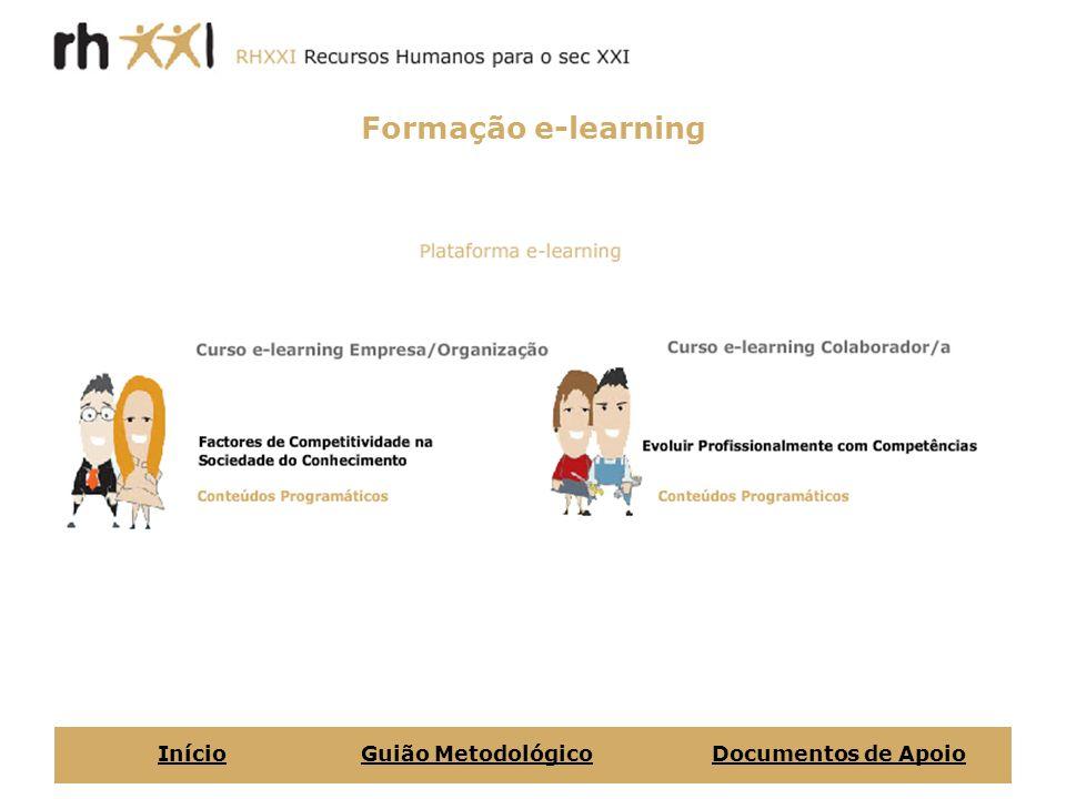 Formação e-learning Início Guião Metodológico Documentos de Apoio