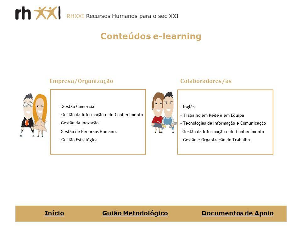 Conteúdos e-learning Início Guião Metodológico Documentos de Apoio