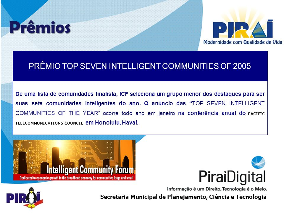 PRÊMIO TOP SEVEN INTELLIGENT COMMUNITIES OF 2005