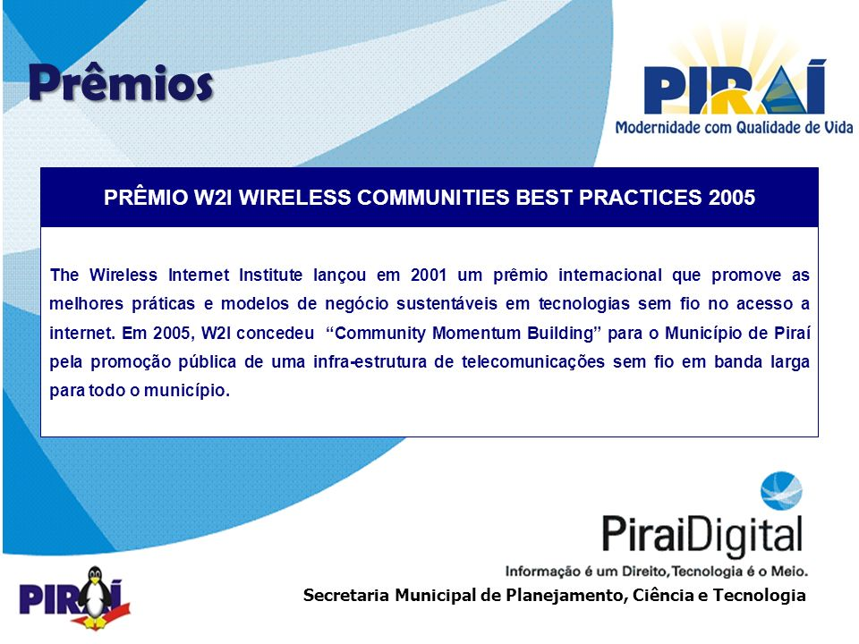 PRÊMIO W2I WIRELESS COMMUNITIES BEST PRACTICES 2005