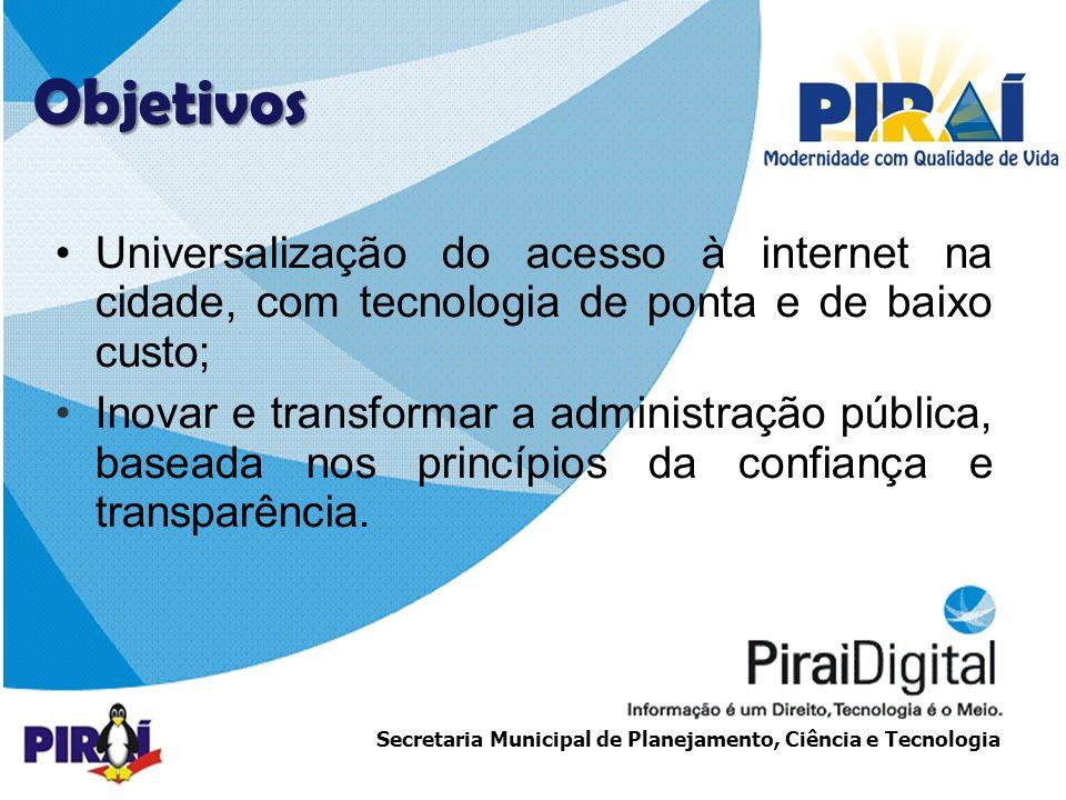 Objetivos Universalização do acesso à internet na cidade, com tecnologia de ponta e de baixo custo;
