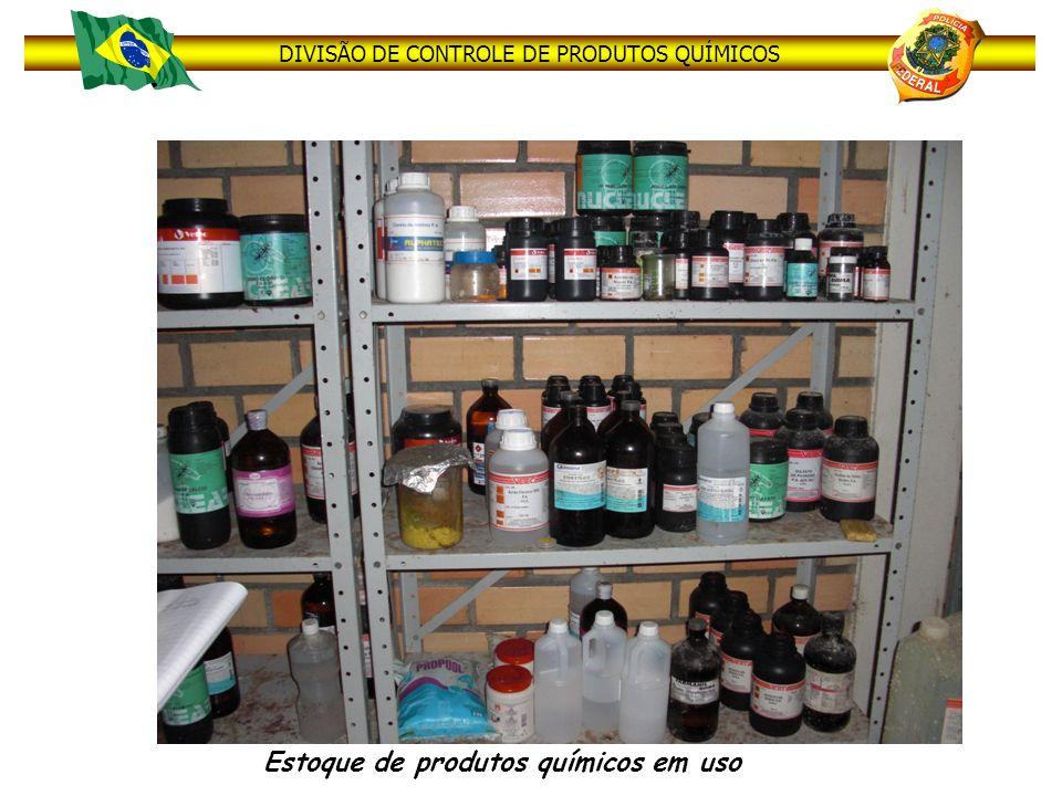 Estoque de produtos químicos em uso