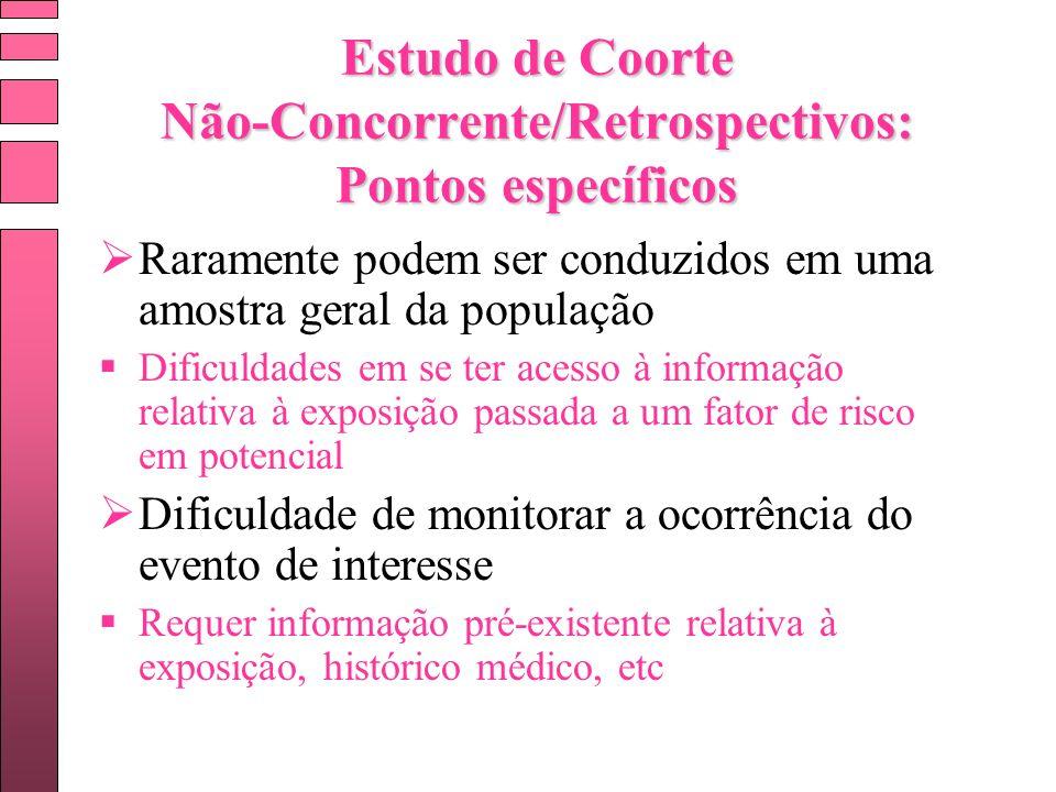 Estudo de Coorte Não-Concorrente/Retrospectivos: Pontos específicos