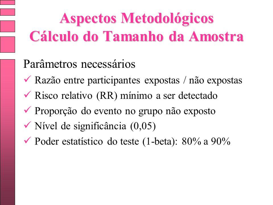 Aspectos Metodológicos Cálculo do Tamanho da Amostra