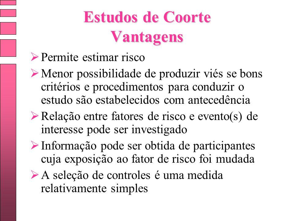 Estudos de Coorte Vantagens