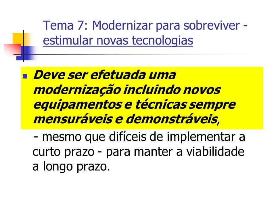 Tema 7: Modernizar para sobreviver - estimular novas tecnologias