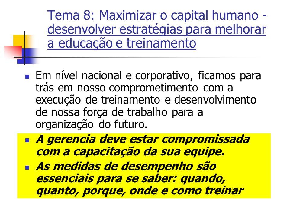Tema 8: Maximizar o capital humano - desenvolver estratégias para melhorar a educação e treinamento