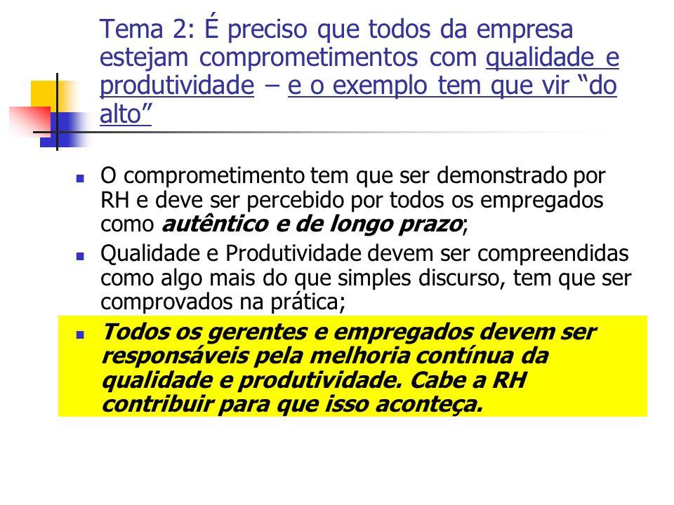 Tema 2: É preciso que todos da empresa estejam comprometimentos com qualidade e produtividade – e o exemplo tem que vir do alto