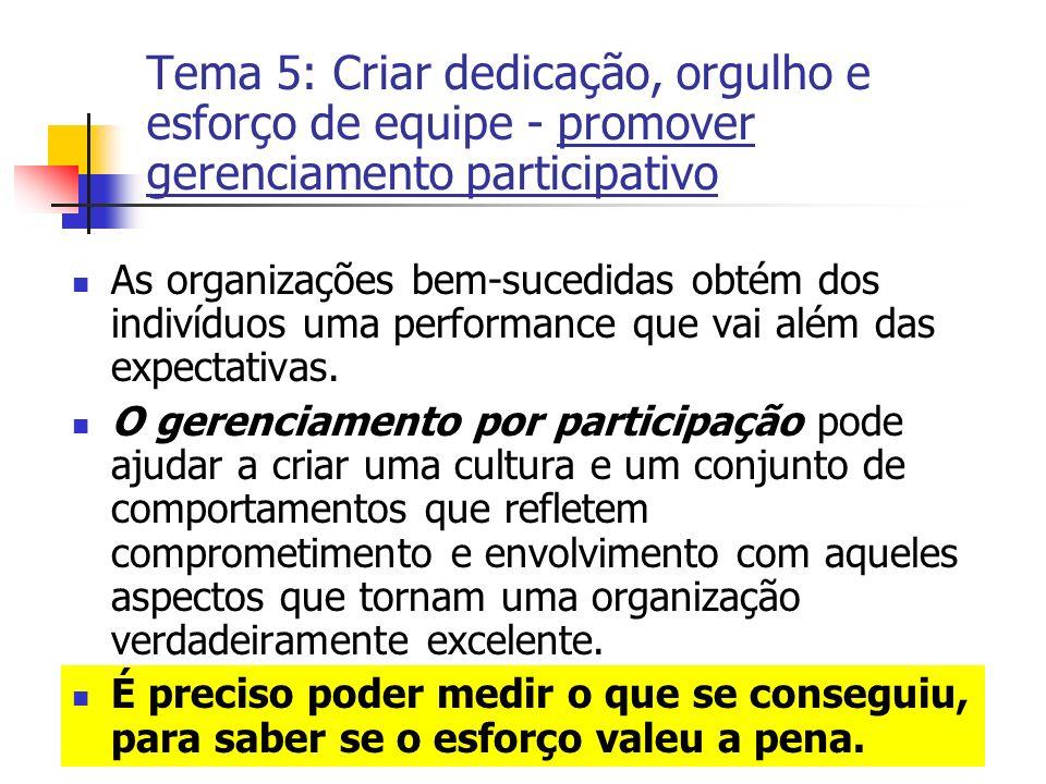 Tema 5: Criar dedicação, orgulho e esforço de equipe - promover gerenciamento participativo