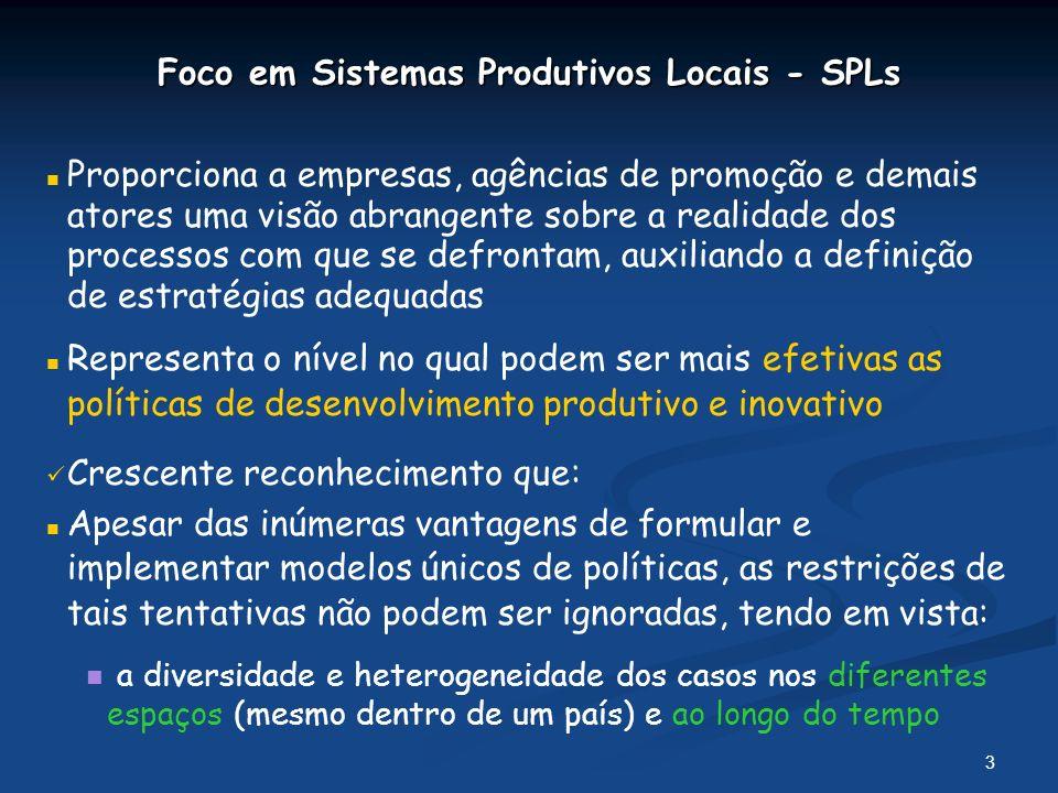Foco em Sistemas Produtivos Locais - SPLs