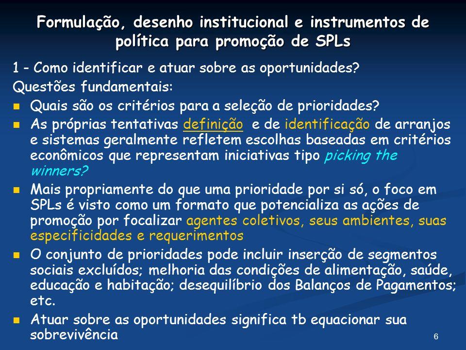 Formulação, desenho institucional e instrumentos de política para promoção de SPLs