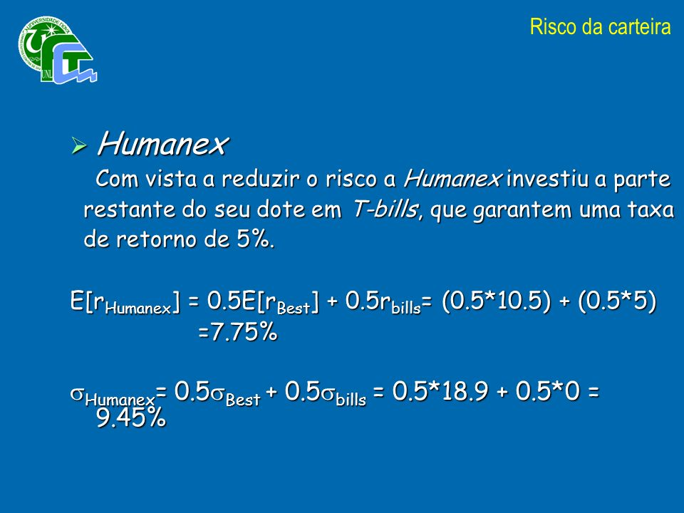 Humanex Humanex= 0.5Best + 0.5bills = 0.5*18.9 + 0.5*0 = 9.45%