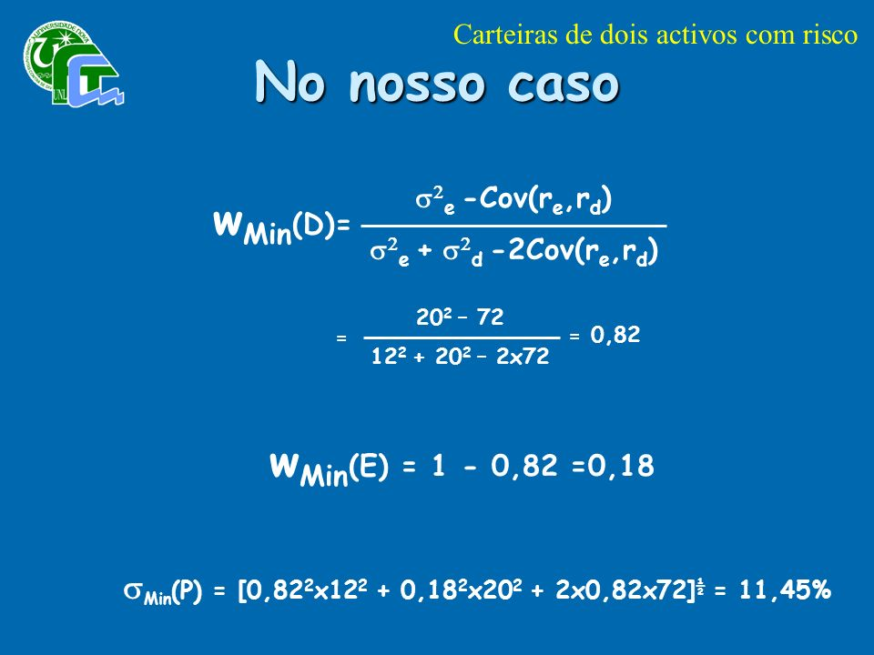 No nosso caso wMin(D)= wMin(E) = 1 - 0,82 =0,18