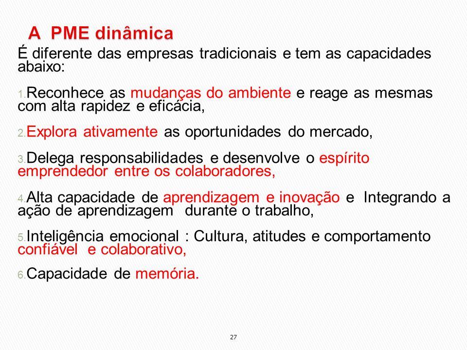 A PME dinâmica É diferente das empresas tradicionais e tem as capacidades abaixo: